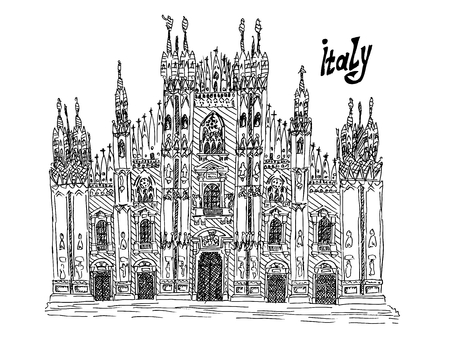 Italy milan sketch illustration on white ink vector stock