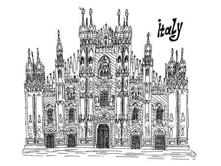 Italy milan sketch illustration on white ink vector stock 免版税图像 - 101752949