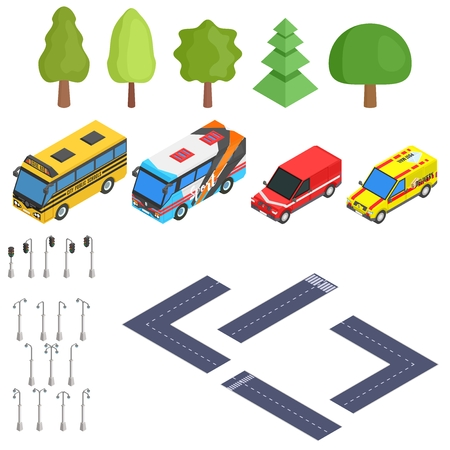 isometric selection of road and cars vector stock