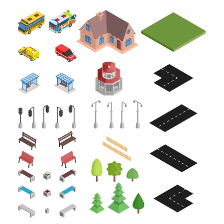 large isometric selection of road and house and cars vector stock