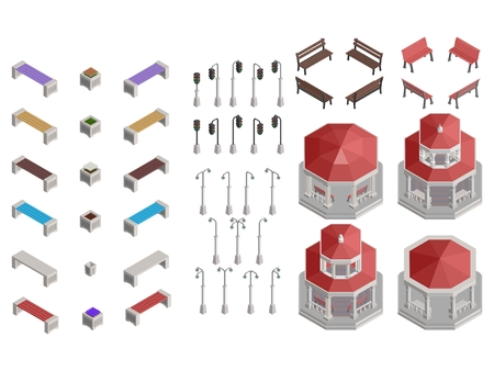 isometric selection of gazebo park details for construction vector stock