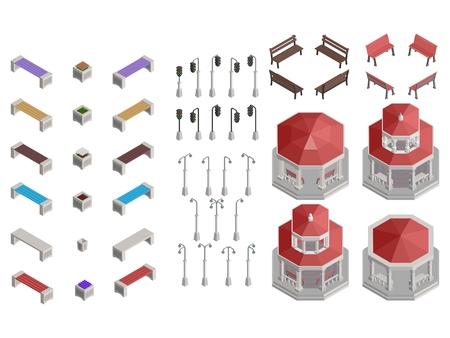 isometric selection of gazebo park details for construction vector stock