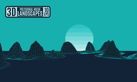 contrast landscape polygonal green neon mountains. vector drawing stock