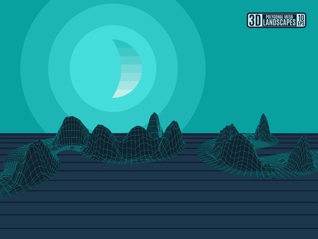 A green neon landscape with polygonal mountains in a grid with the moon. Stock image vector