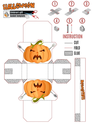 template boxes for Halloween. an evil pumpkin with cutlery