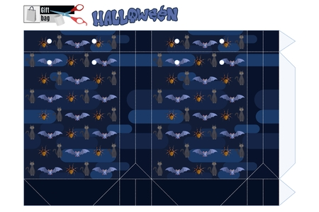 A great package for a Halloween sale. On a blue background, mystical animals. template for printing