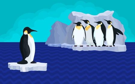 bright illustration of penguins on glacier global warming.stock vector illustration