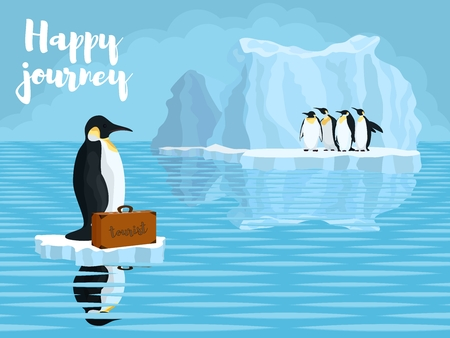 melting of Antarctica penguins in the snow near the water.stock vector illustration