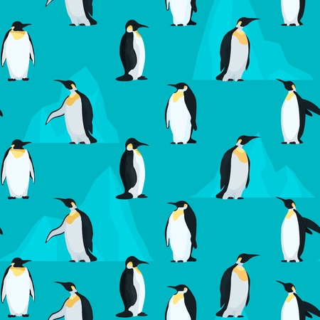 Pattern seamless with penguins and bright icebergs. stock vector illustration