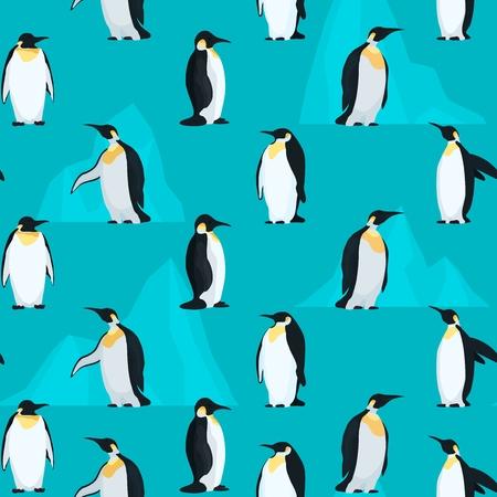 Wzór bez szwu z pingwinami i jasnymi górami lodowymi. Stockowa ilustracja wektorowa
