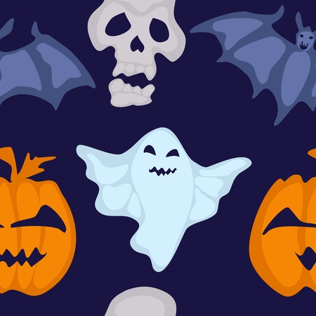 seamless Halloween pattern with bat and bringing.vector stock illustration