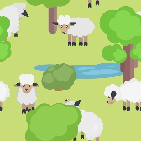 seamless pattern with sheep on a meadow near the lake.vector stock illustration
