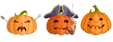 three bright halloween pumpkin masks flat. stock image picture