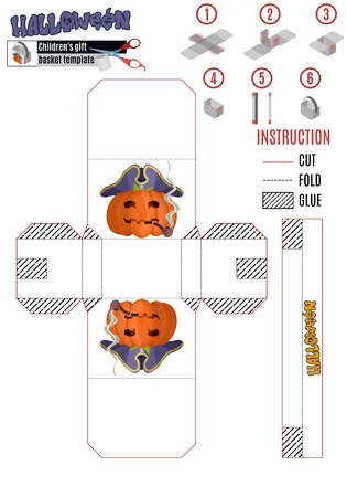 template for building a white box with a Halloween pumpkin pirate. stock image picture 일러스트
