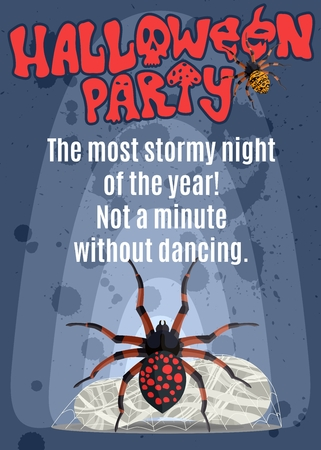 poster for a party with a poisonous spider. stock image picture Çizim