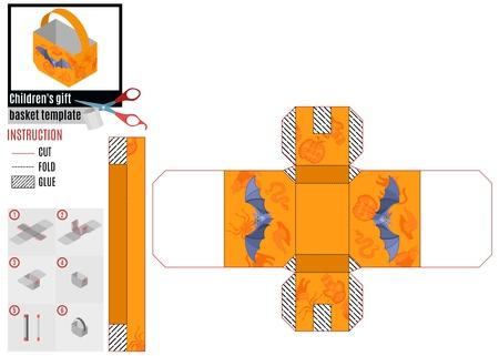 Geschenkkorb aus orangefarbenem Papier mit Fledermaus. Vektorgrafiken