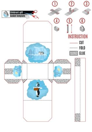 white paper box with penguins on iceberg. stock vector image Ilustracje wektorowe