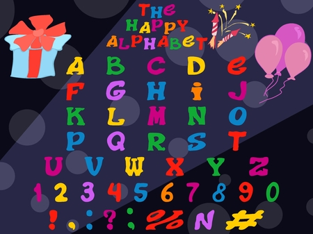 bright interesting holiday alphabet in English. stock vector image