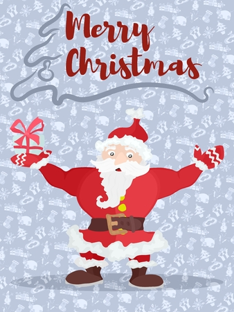 poster with christmas santa congratulates with a gift. stock vector image. stock vector image Ilustração