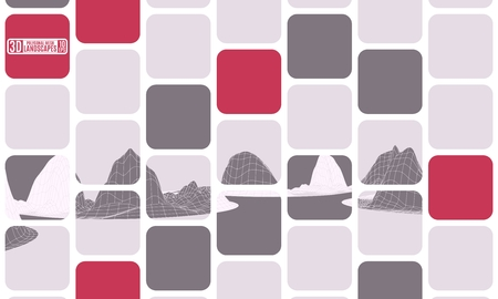 new abstraction mosaic cubes polygonal landscape burgundy.stock image vector