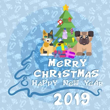 christmas poster cat with dog near new year tree. stock image vector