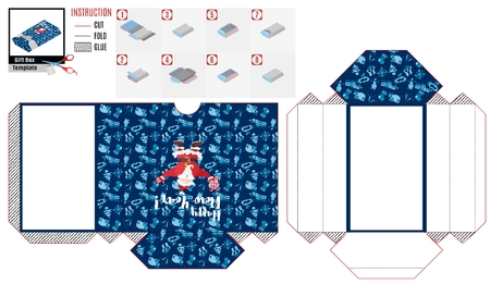 paper box template. strong santa claus on blue