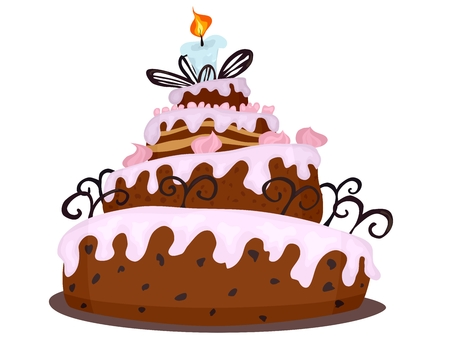 big chocolate cake with cream drawing cartoon. stock image vector