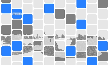 abstraction from blue cubes polygonal mountains