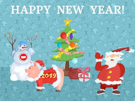 Happy New Year poster with Santa Claus near the Christmas tree Ilustrace