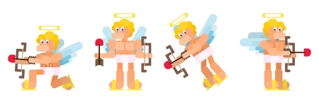 flat funny cupid set in different poses vector work 일러스트