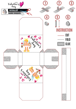 print box template with cupid and arrows vector work Illustration