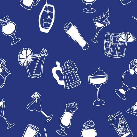 seamless blue pattern with doodles of alcohol vector work
