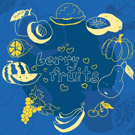 yellow doodles of fruits on a blue background collection vector