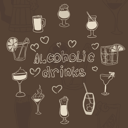 doodles of alcoholic drinks in glasses on a brown background vector