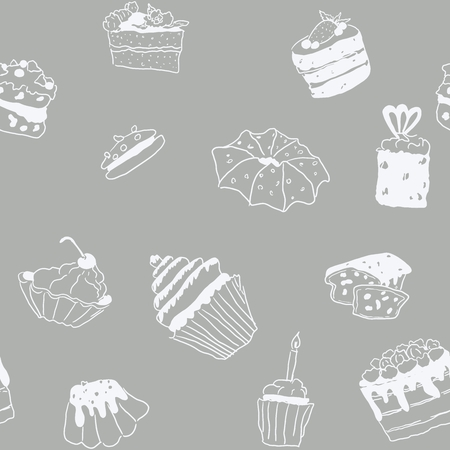 seamless pattern sweets doodle pastry gray pattern with white outline Ilustracja