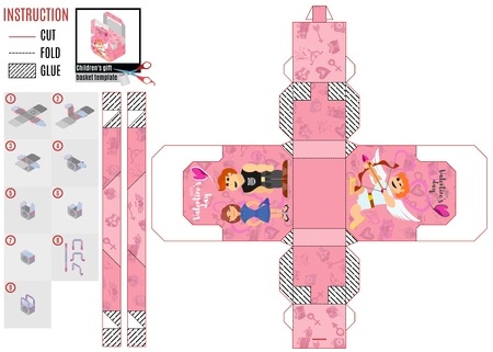 pink box template for cut with angel cupid and other characters on Valentines day Illustration