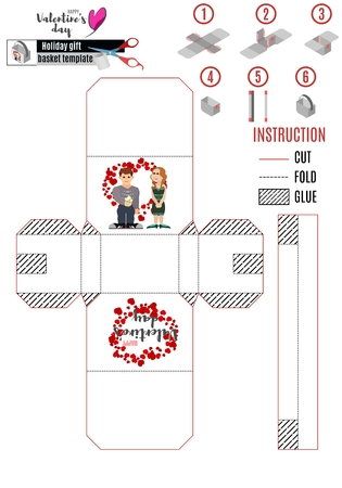 white box template with bright illustrations for cutting and gluing