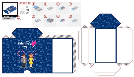 blue box casket pattern with characters to cut out for the holiday of love Vectores