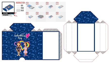 blue box casket pattern with characters to cut out for the holiday of love  イラスト・ベクター素材