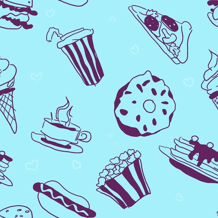 bright contrasting seamless pattern doodles fast food