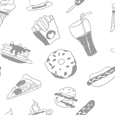 light on white seamless pattern doodles fast food
