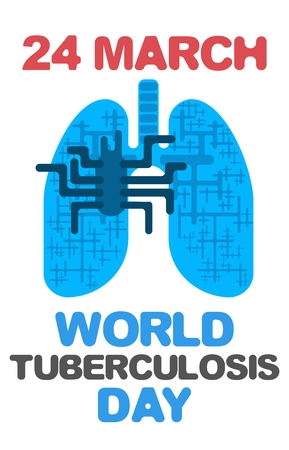blue tuberculosis day poster on white background