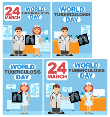 several posters for tuberculosis day flat style