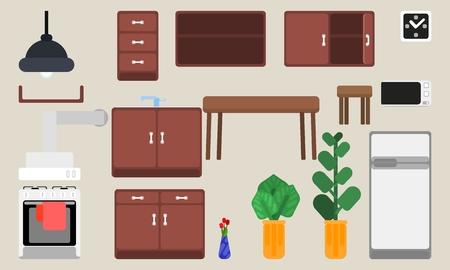selection of kitchen furniture interior details and plants Ilustração