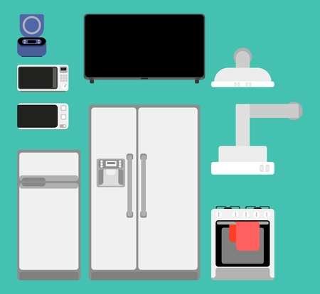 selection of kitchen appliances detailed for home flat style Illustration