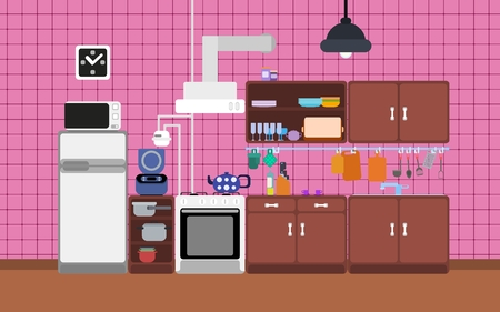 Contrast flat kitchen detailed on a pink background Imagens - 124782368