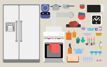 kitchen appliances and equipment flat style
