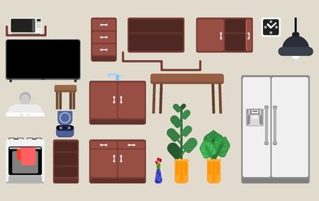 sélection de détails intérieurs de meubles de cuisine et de plantes