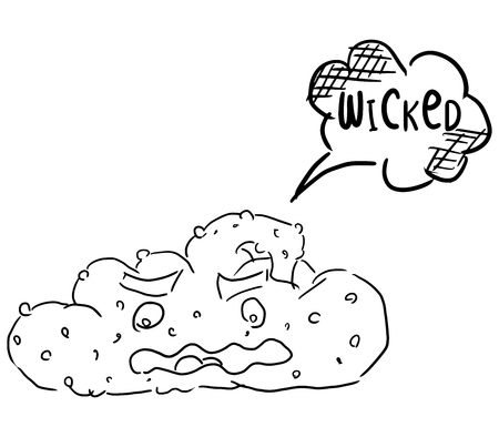 sketch doodle drawing poop on a white background with text Vector Illustration