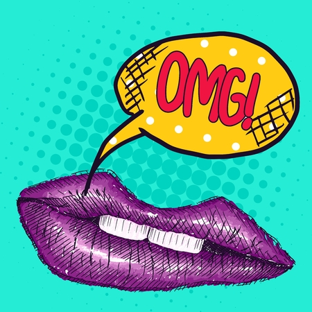 new pop art drawing purple lips with the inscription